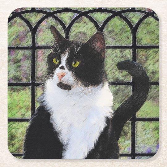 Tuxedo Cat in Window Square Paper Coaster