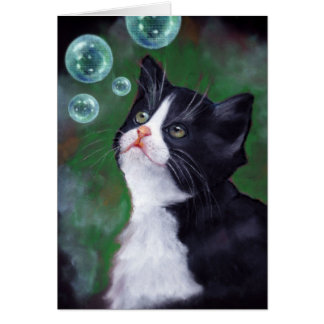 Tuxedo Cat Looking At Bubbles, Oil Pastel Art Card