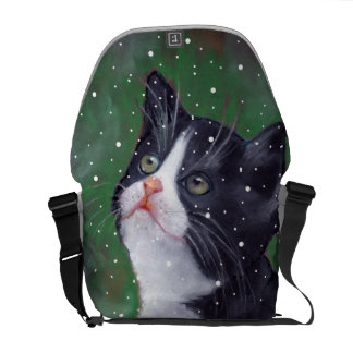 Tuxedo Cat Looking Up At Snow, Pastel Art Courier Bags