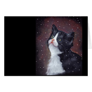 Tuxedo Cat Looking Up At Snowflakes, Painting Card