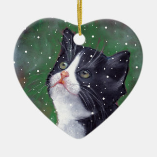Tuxedo Cat Looking Up At Snowflakes, Painting Ceramic Heart Ornament