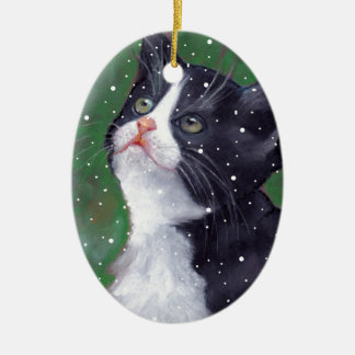 Tuxedo Cat Looking Up At Snowflakes, Painting Ceramic Oval Ornament