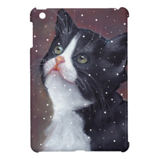 Tuxedo Cat Looking Up At Snowflakes, Painting Cover For The iPad Mini