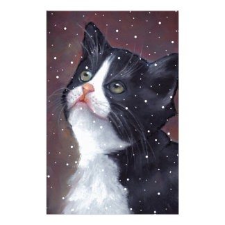 Tuxedo Cat Looking Up At Snowflakes, Painting Customized Stationery