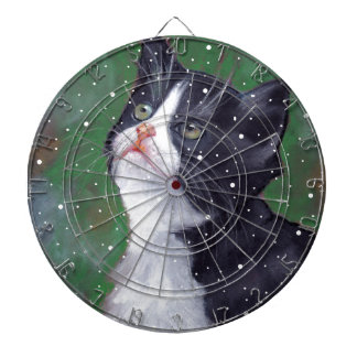 Tuxedo Cat Looking Up At Snowflakes, Painting Dart Boards
