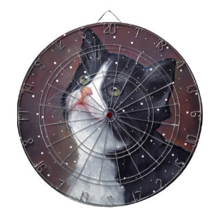 Tuxedo Cat Looking Up At Snowflakes, Painting Dartboards
