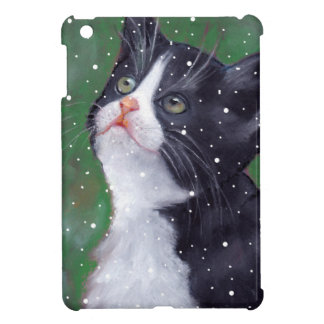 Tuxedo Cat Looking Up At Snowflakes, Painting iPad Mini Case