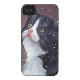 Tuxedo Cat Looking Up At Snowflakes, Painting iPhone 4 Case