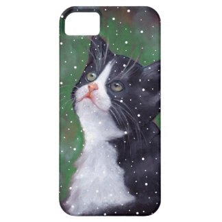 Tuxedo Cat Looking Up At Snowflakes, Painting iPhone 5 Cases