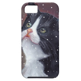 Tuxedo Cat Looking Up At Snowflakes, Painting iPhone 5 Cover