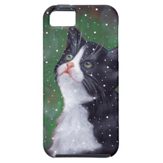 Tuxedo Cat Looking Up At Snowflakes, Painting iPhone 5 Covers