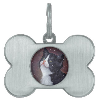 Tuxedo Cat Looking Up At Snowflakes, Painting Pet Name Tags