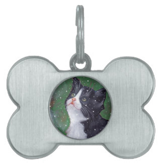 Tuxedo Cat Looking Up At Snowflakes, Painting Pet Tag