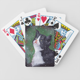 Tuxedo Cat Looking Up At Snowflakes, Painting Poker Deck