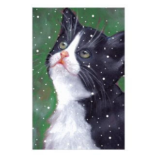 Tuxedo Cat Looking Up At Snowflakes, Painting Stationery