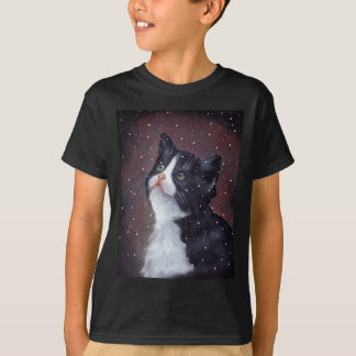 Tuxedo Cat Looking Up At Snowflakes, Painting T-Shirt