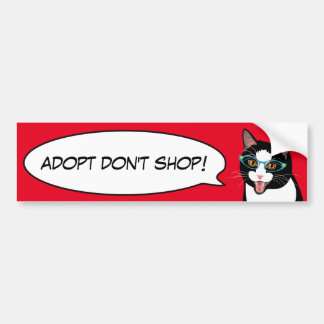 Tuxedo Cat Love Adopt a Shelter Cat Bumper Sticker