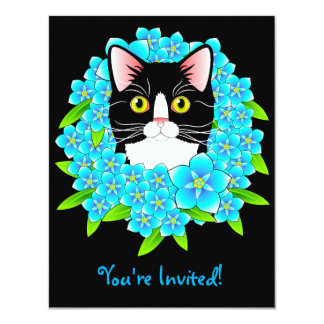 Tuxedo Cat Lover's Customizable Invitation Kitty