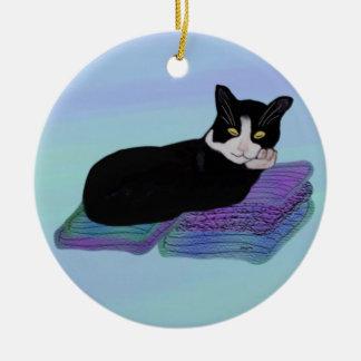 Tuxedo Cat Nap Ornament