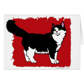 'Tuxedo' Cat Notecard Greeting Card