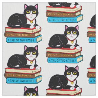 Tuxedo Cat on Books Fabric