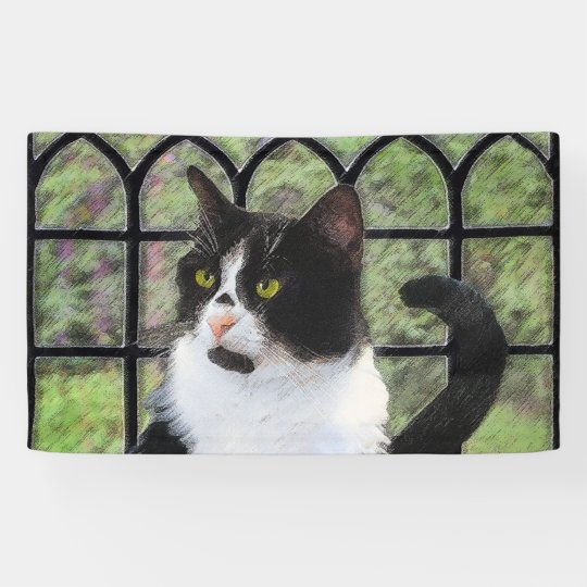 Tuxedo Cat Painting - Cute Original Cat Art Banner