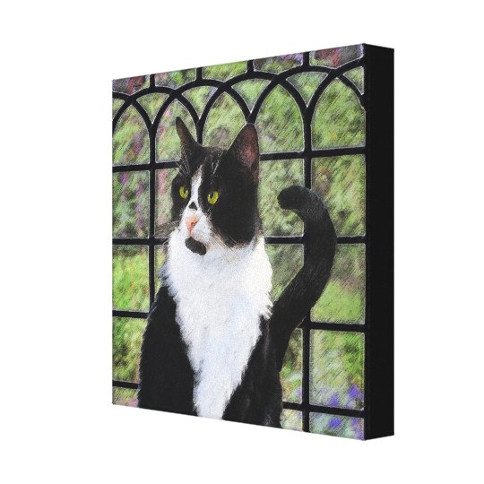 Tuxedo Cat Painting - Cute Original Cat Art Canvas Print