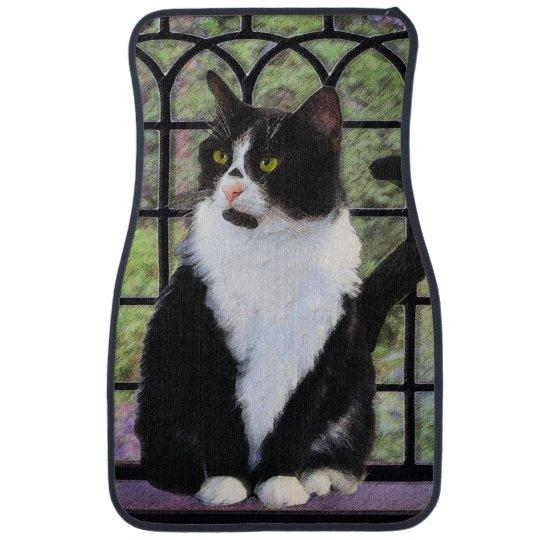 Tuxedo Cat Painting - Cute Original Cat Art Car Mat