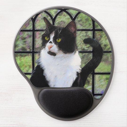Tuxedo Cat Painting - Cute Original Cat Art Gel Mouse Pad
