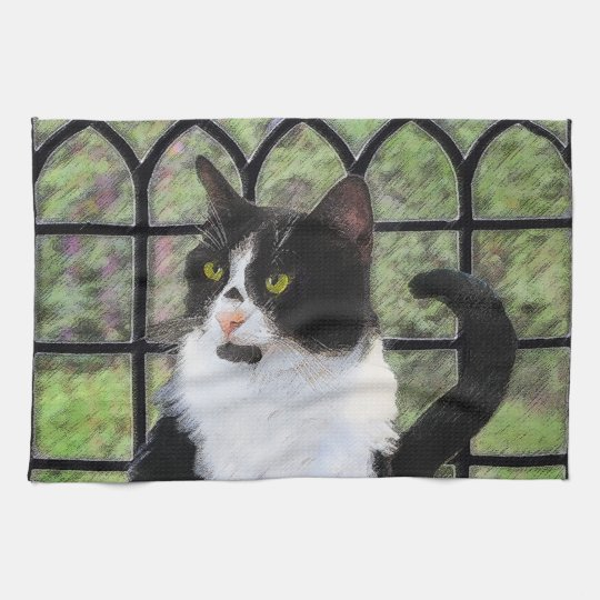 Tuxedo Cat Painting - Cute Original Cat Art Kitchen Towel