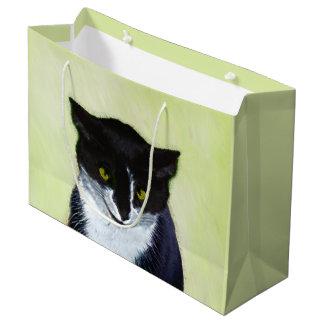 Tuxedo Cat Painting - Cute Original Cat Art Large Gift Bag