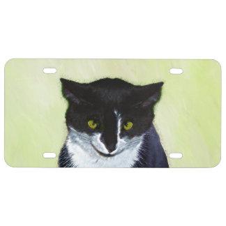 Tuxedo Cat Painting - Cute Original Cat Art License Plate