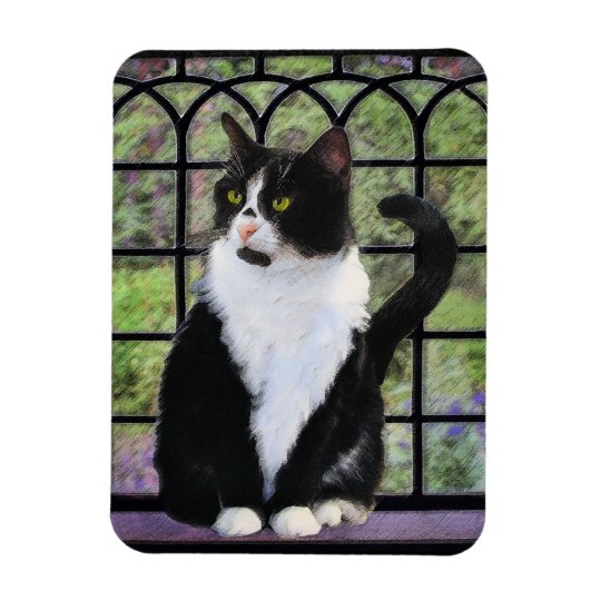 Tuxedo Cat Painting - Cute Original Cat Art Magnet