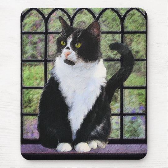 Tuxedo Cat Painting - Cute Original Cat Art Mouse Pad
