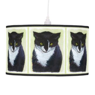 Tuxedo Cat Painting - Cute Original Cat Art Pendant Lamp