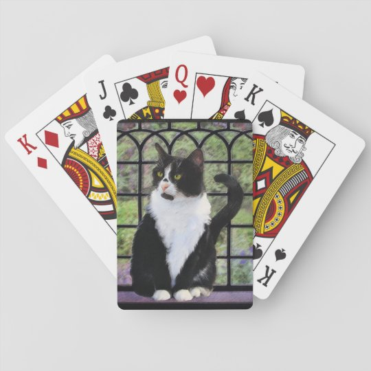Tuxedo Cat Painting - Cute Original Cat Art Playing Cards
