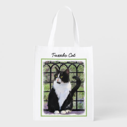 Tuxedo Cat Painting - Cute Original Cat Art Reusable Grocery Bag