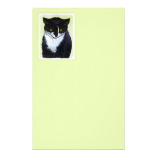 Tuxedo Cat Painting - Cute Original Cat Art Stationery