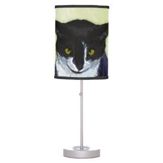Tuxedo Cat Painting - Cute Original Cat Art Table Lamp