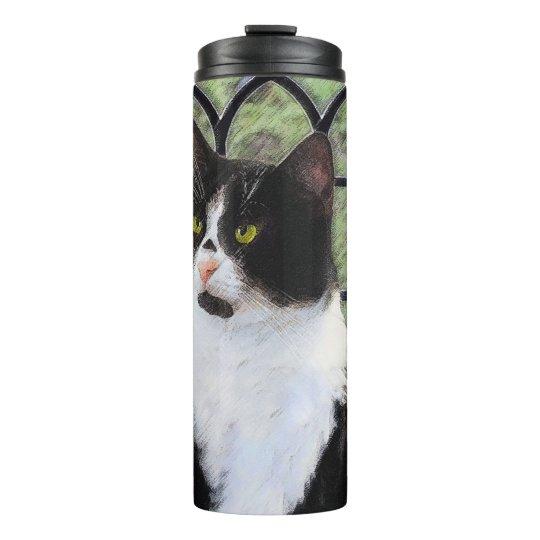 Tuxedo Cat Painting - Cute Original Cat Art Thermal Tumbler
