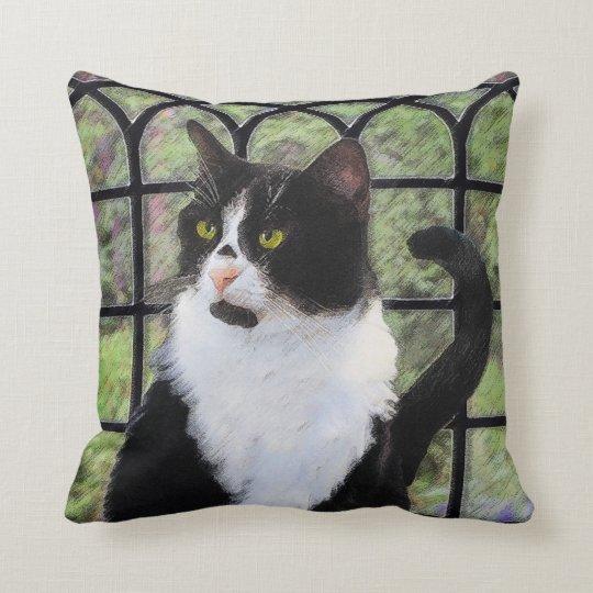 Tuxedo Cat Painting - Cute Original Cat Art Throw Pillow