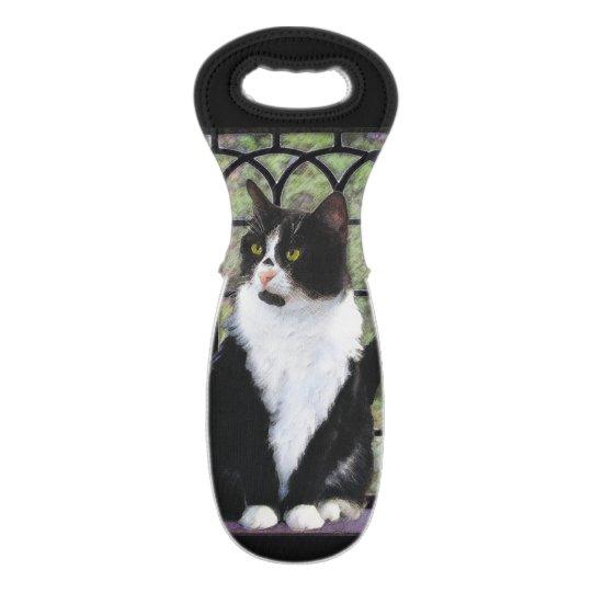 Tuxedo Cat Painting - Cute Original Cat Art Wine Bag