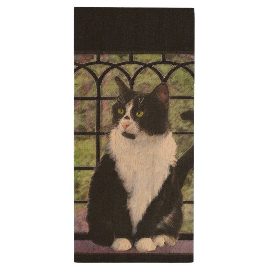 Tuxedo Cat Painting - Cute Original Cat Art Wood USB Flash Drive