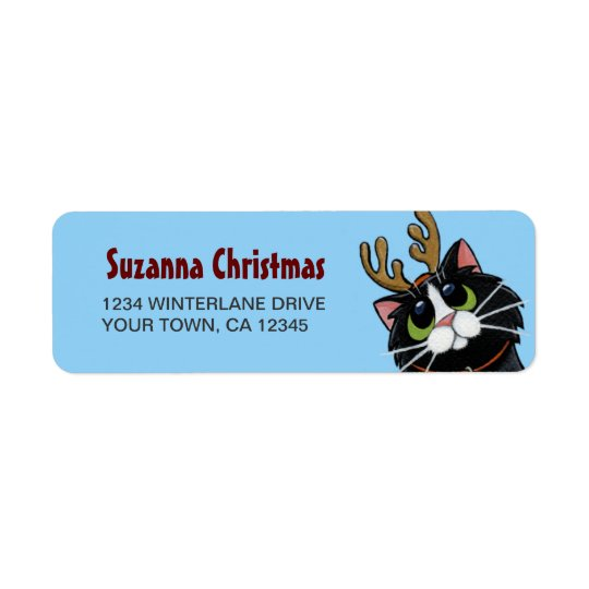 Tuxedo Cat Reindeer Christmas Return Address Label