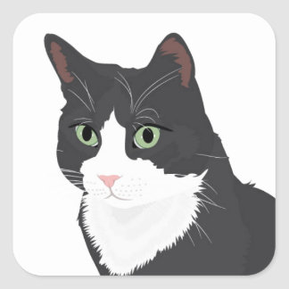 Tuxedo Cat Square Sticker
