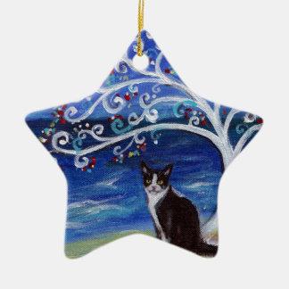 Tuxedo Cat & Tree of Life Ceramic Ornament