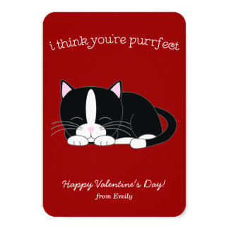 Tuxedo Cat Valentines 3.5x5 Paper Invitation Card
