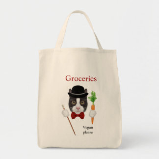 Tuxedo Cat Vegan Grocery Tote