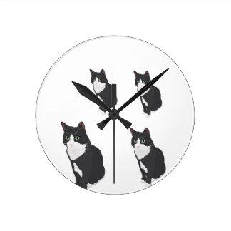 Tuxedo Cat Wallclocks