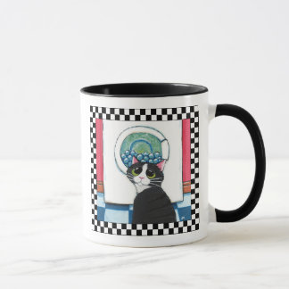 Tuxedo Cat Watching Washing Machine | Cat Art Mug